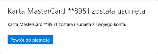 Strona potwierdzenia po usunięciu karty kredytowej.