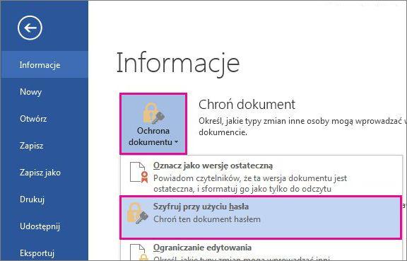 Chronienie dokumentu hasłem