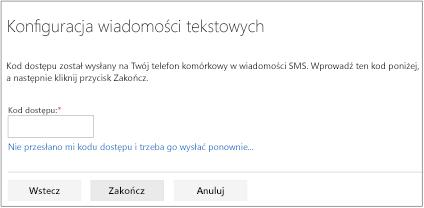 Ekran wiadomości SMS, na którym wprowadza się kod dostępu