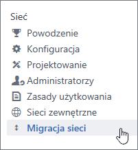 Zrzut ekranu przedstawiający element menu Migracja sieci dla administratorów usługi Yammer