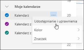 Zrzut ekranu przedstawiający kursor unoszący się nad Udostępnianiem i uprawnieniami w menu kontekstowym kalendarza