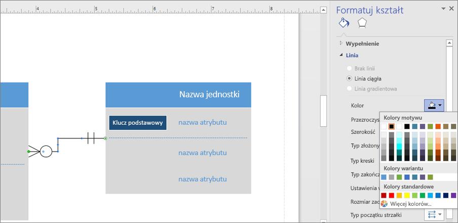Kliknij ikonę obok przycisku kolor, aby zmienić kolor linię relacji.