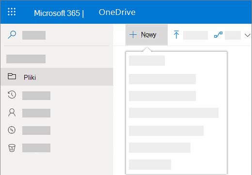 Zrzut ekranu przedstawiający wybieranie menu Nowy w celu utworzenia nowego dokumentu w usłudze OneDrive dla Firm