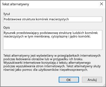 Zrzut ekranu przedstawiający okno dialogowe Tekst alternatywny w programie OneNote z przykładowym tekstem w polach Tytuł i Opis.