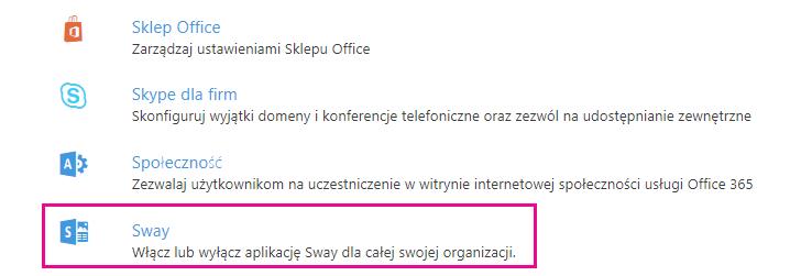 """Przewiń w dół ekran """"Usługi i dodatki"""", a następnie kliknij przycisk aplikacji Sway."""
