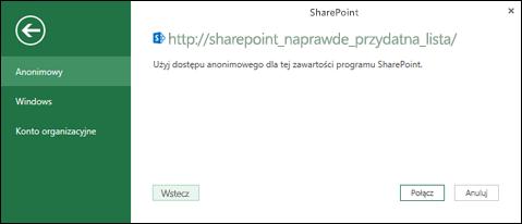 Dodatek Power Query dla programu Excel połączyć się okno dialogowe Łączenie listy programu Sharepoint