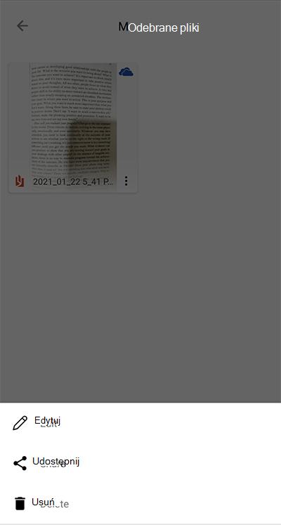 Zrzut ekranu przedstawiający aplikację Microsoft Lens na telefonie z systemem Android