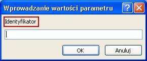 """Pokazuje przykład nieoczekiwane wprowadzanie wartości parametru okno dialogowe z różowym kontur wokół etykiety identyfikator """"SomeIdentifier"""", pole, w którym można wpisać odpowiednią wartość, a przyciskami OK i Anuluj."""