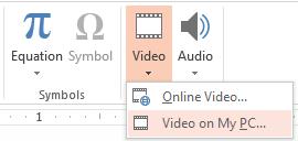 Zrzut ekranu przedstawiający wstawianie pliku wideo