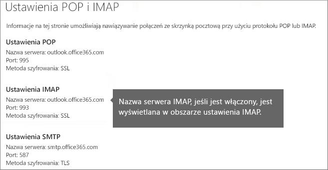Przedstawia link do ustawień dostępu POP lub IMAP