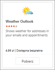 Zrzut ekranu przedstawiający dodatek Weather Outlook dostępny jako bezpłatna wersja próbna lub odpłatnie.