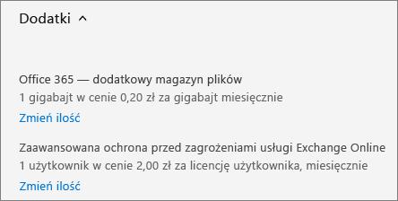 Link Dodatki i link Zmień ilość.