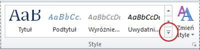 Przycisk Więcej stylów w programie Word 2010