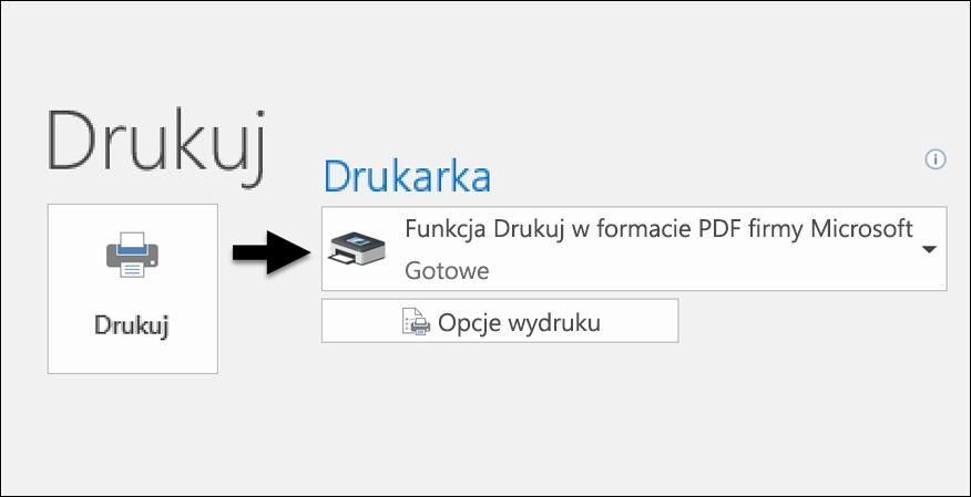 Drukowanie wiadomości e-mail do pliku PDF za pomocą polecenia Drukuj