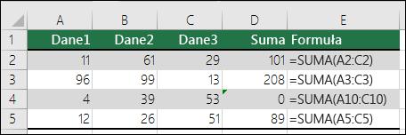 Program Excel wyświetla błąd, jeśli formuła nie pasuje do wzorca sąsiednich formuł