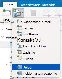 Pokazuje, wybierając Folder na liście nowe elementy.