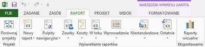 Karta Raport w programie Project 2013