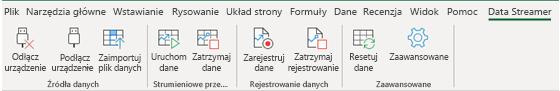Wstążka dodatku Data Streamer z włączonymi przyciskami Rozłączono i Połącz urządzenie