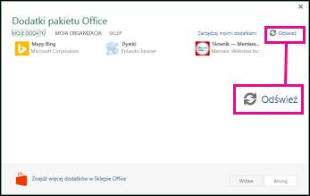 Przycisk Odśwież w obszarze Dodatki pakietu Office