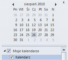 Nawigator daty w okienku nawigacji kalendarza