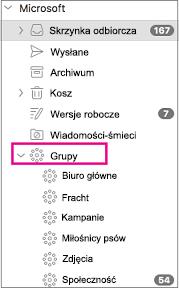 Lista grup w okienku folderów programu Outlook 2016 dla komputerów Mac