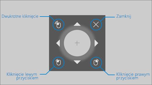 Mysz sterowana wzrokiem umożliwia dostosowanie położenia kursora myszy oraz korzystanie z opcji kliknięcia lewym/prawym przyciskiem lub dwukrotnego kliknięcia.