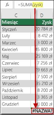 Błąd #NAZWA? spowodowany odwołaniem w składni do niezdefiniowanej nazwy