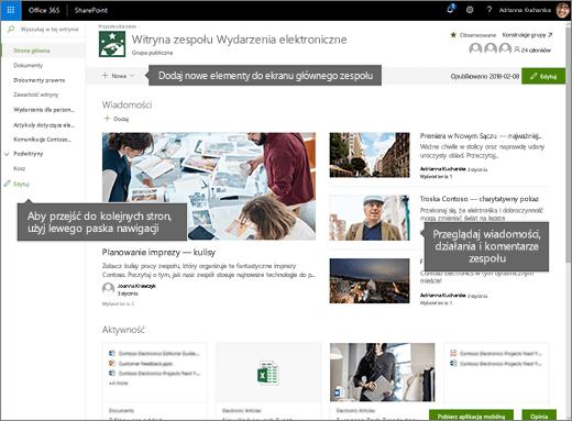 Strona główna witryny zespołu w programie SharePoint Online