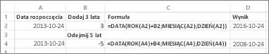 Przykłady dodawania i odejmowania dat