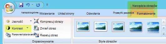 Na karcie Narzędzia obrazów ,Formatowanie w grupie Dopasowywanie wybierz pozycję Kontrast
