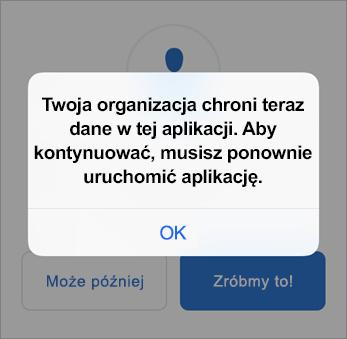 Zrzut ekranu przedstawiający aplikację Outlook chronioną przez organizację