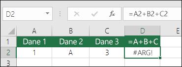 Przykład nieprawidłowego konstruowania formuły. Formuła w komórce D2 to =A2+B2+C2