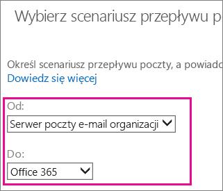 W polu Od wybierz serwer poczty e-mail organizacji, a w polu Do wybierz usługę Office 365.
