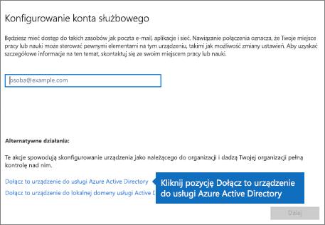 Kliknij pozycję Dołącz to urządzenie do usługi Azure Active Directory
