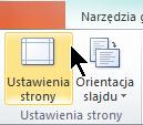 Na karcie Wstążki Projektowanie wybierz pozycję Ustawienia strony.