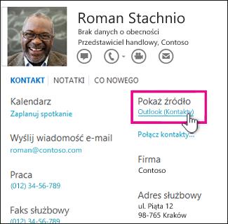 Łącze Pokaż źródło na wizytówce w programie Outlook