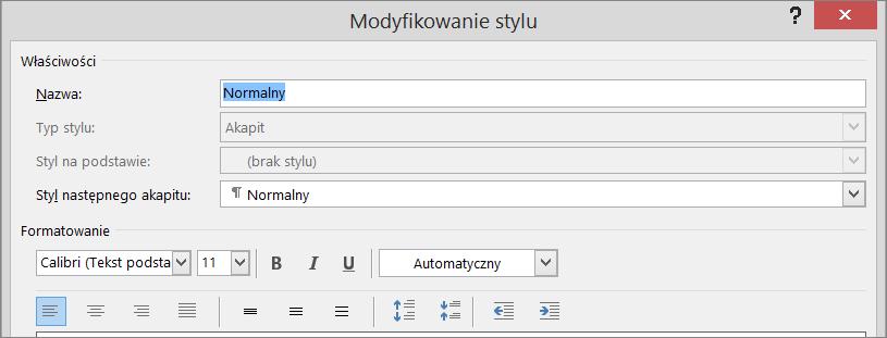 Okno dialogowe Modyfikowanie formatowania stylu w programie Word