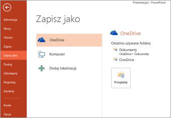 Zapisywanie w usłudze OneDrive