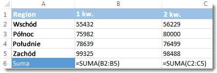Formuły widoczne w arkuszu programu Excel