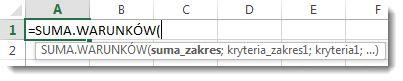 Wprowadzanie funkcji SUMA.WARUNKÓW przy użyciu funkcji Autouzupełnianie formuł