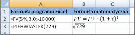 Formuły programu Excel i podobne do nich formuły matematyczne