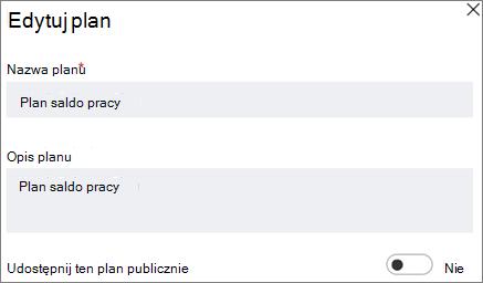 Zrzut ekranu: okno dialogowe Edytowanie plan przedstawiający wprowadź tego formantu publicznej planu.