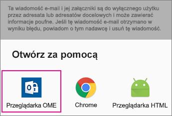Przeglądarka OME z usługą Gmail w Android 2