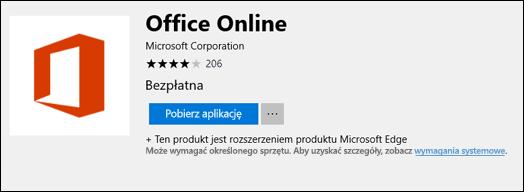 Strona witryny Office Online rozszerzenia w Microsoft Store