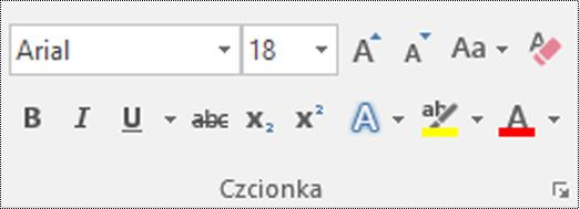 Przycisk Typ czcionki w programie Visio.