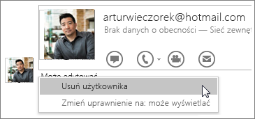 Zrzut ekranu przedstawiający opcje zatrzymywania udostępniania w programie OneNote2016.