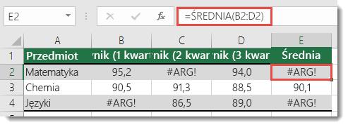 Błąd #ARG! w funkcji ŚREDNIA