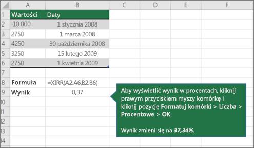 Przykład XIRR, funkcja