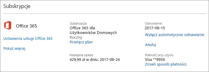 Zrzut ekranu przedstawiający stronę Usługi i subskrypcje