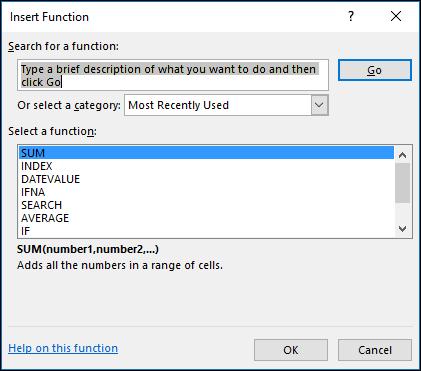 Formuły programu Excel — okno dialogowe Wstawianie funkcji